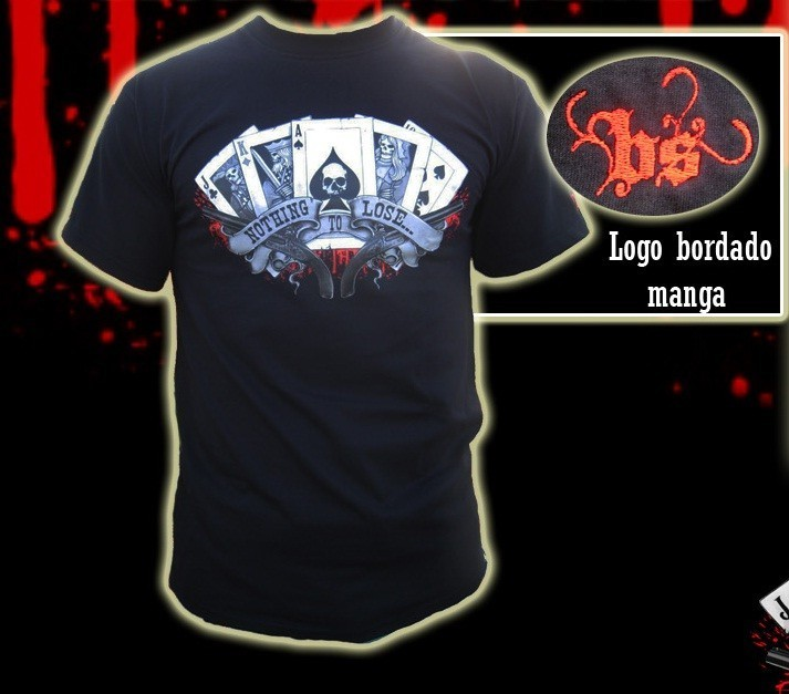 CAMISETA BLOODSHEDS CARTAS NEGRA CHICO