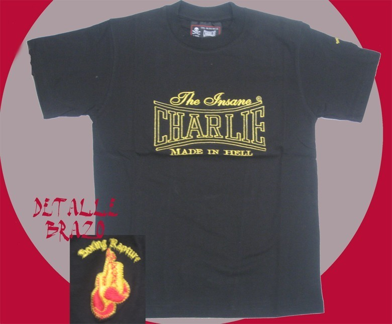 CAMISETA CHARLIE BORDADA MADE IN HELL  NEGRO CHICO