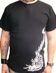 CAMISETA FIRE AND FLAMES DRAGON GOLD/BLACK CHICO