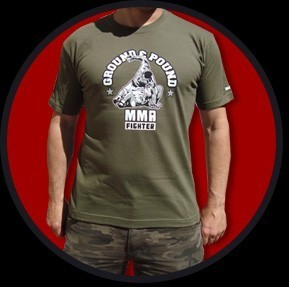 CAMISETA URBAN BLOOD GROUND & POUND VERDE CHICO