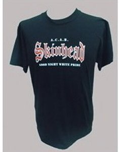 CAMISETA SKINHEAD GOOD NIGHT WHITE PRIDE NEGRA CHICO