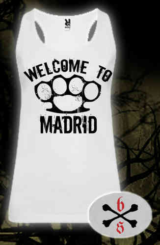 CAMISETA BLOODSHEDS TIRANTES WELCOME TO MADRID BLANCA CHICA
