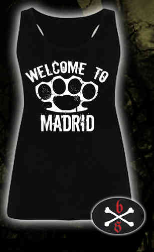 CAMISETA BLOODSHEDS TIRANTES WELCOME TO MADRID NEGRA CHICA
