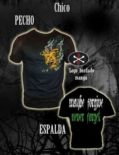 CAMISETA BLOODSHEDS CORAZON MAYBE FORGIVE, NEVER FORGET CHICO