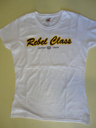 CAMISETA REBEL CLASS ANTIFA CREW BLANCA CHICA