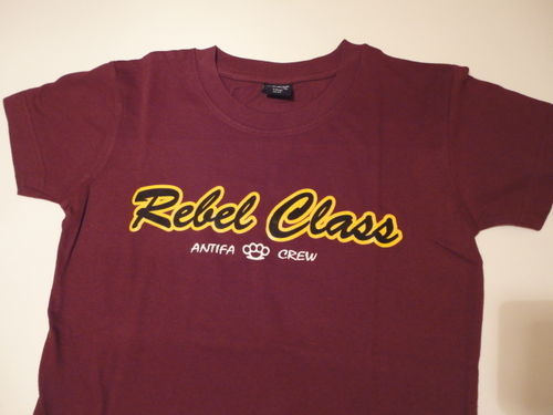 CAMISETA REBEL CLASS ANTIFA CREW GRANATE CHICA