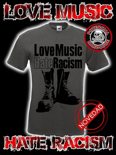 CAMISETA LOVE MUSIC HATE RACISM GRIS OSCURO