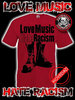 CAMISETA LOVE MUSIC HATE RACISM GRANATE