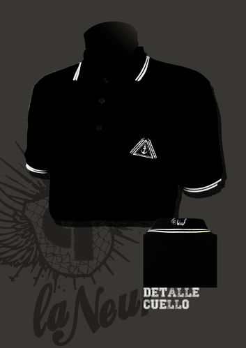 POLO LA NEUF BORDADO NEGRO