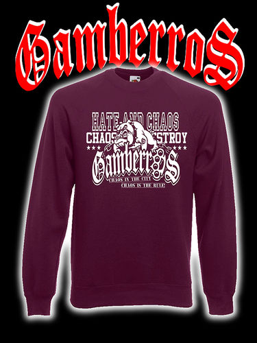 "SUDADERA GAMBERROS ""HATE AND CHAOS"" GRANATE SIN CAPUCHA"