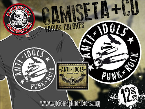 "PACK OFERTA CAMISETA ANTI IDOLS ""PUNK ROCK"" +CD ""SENSACION DE VICTORIA"""